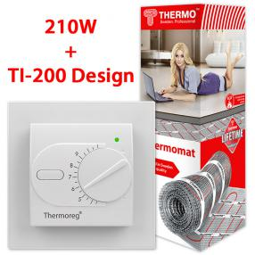 Термомат TVK-210 4,7 кв.м + Thermoreg TI-200 Design