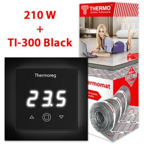 Термомат TVK-210 7,6 кв.м + Thermoreg TI-300 Black
